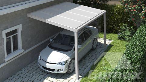 Moderne Carport in matt weiß, 4,06 x 2,5 Meter mit IQ Relax Polycarbonat