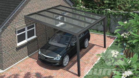 Gumax carport 4.06m  x 4.0m modern antraciet helder polycarbonaat boven