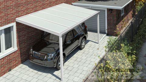 Klassische Carport in matt weiß, 5,06 x 2,5 Meter mit IQ Relax Polycarbonat