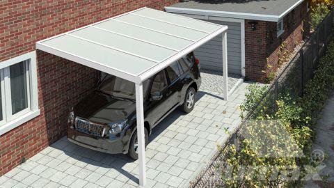 Moderne Carport in matt weiß, 5,06 x 3 Meter mit Opal Polycarbonat