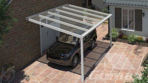 Klassische Carport in matt weiß, 5,06 x 3,5 Meter mit Klar Polycarbonat