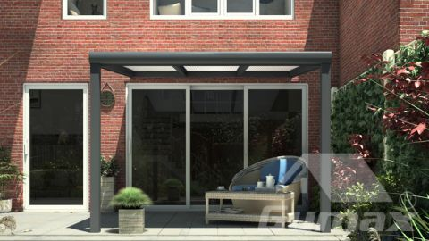 Gumax terrasoverkapping 3.06m  x 2.5m modern antraciet opaal polycarbonaat voor