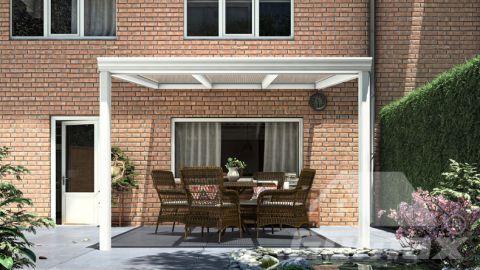 Klassische Terrassenüberdachung in matt weiß, 3,06 x 3,5 Meter mit Klar Polycarbonat