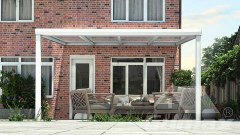 Moderne Terrassenüberdachung in matt weiß, 4,06 x 3,5 Meter mit Klar Polycarbonat