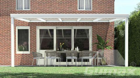 Klassische Terrassenüberdachung in matt weiß, 5,06 x 3,5 Meter mit Klar Polycarbonat