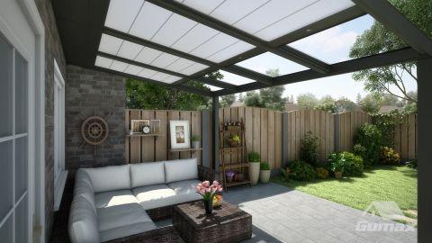 Gumax automatische Sonnenschutz 4,06m x 2,5m matt anthrazit