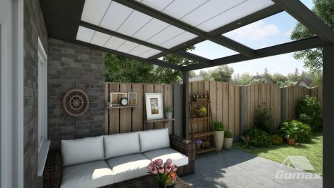 Gumax automatische Sonnenschutz 3,06m x 3m matt anthrazit