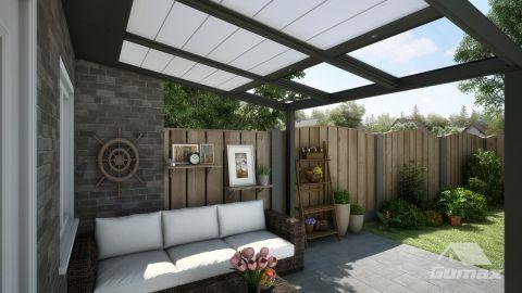 Gumax automatische Sonnenschutz 3,06m x 3,5m matt anthrazit
