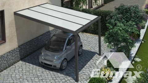 Gumax Moderne Carport in matt anthrazit, 3,06 x 3,5 Meter mit Opal Polycarbonat Ansicht von oben