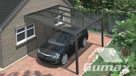 Gumax Moderne Carport in matt anthrazit, 4,06 x 4 Meter mit Klar Polycarbonat Ansicht von oben