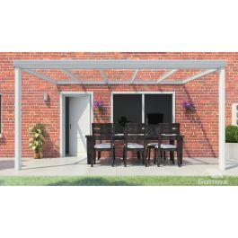 klassische terrassen berdachung in matt creme 5 06 x 3 meter mit glasdach. Black Bedroom Furniture Sets. Home Design Ideas