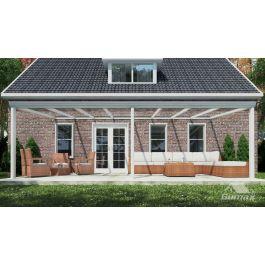 klassische terrassen berdachung in matt creme 8 06 x 3 meter mit glasdach. Black Bedroom Furniture Sets. Home Design Ideas