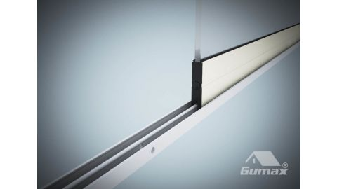 Gumax glazen schuifwand mat crème 1-rail close-up