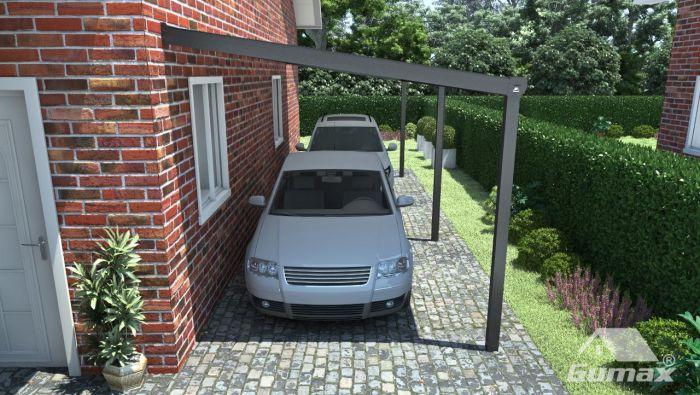 Moderne Carport in matt anthrazit, 10,06 x 4 Meter mit Glasdach