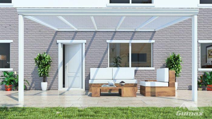 Klassische Terrassenüberdachung in matt creme, 5,06 x 3,5 Meter mit ...