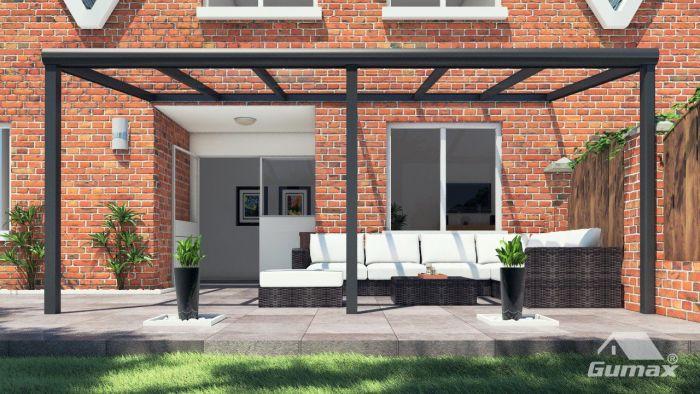 Moderne terrassenüberdachung in matt anthrazit 6 06 x 3 meter mit