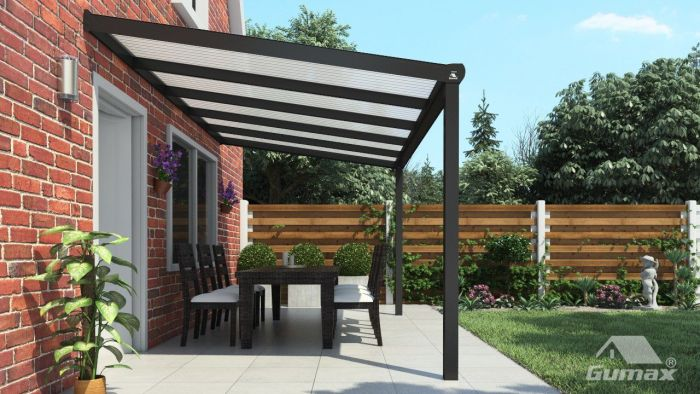 Moderne terrassenüberdachung in matt anthrazit 5 06 x 2 5 meter mit
