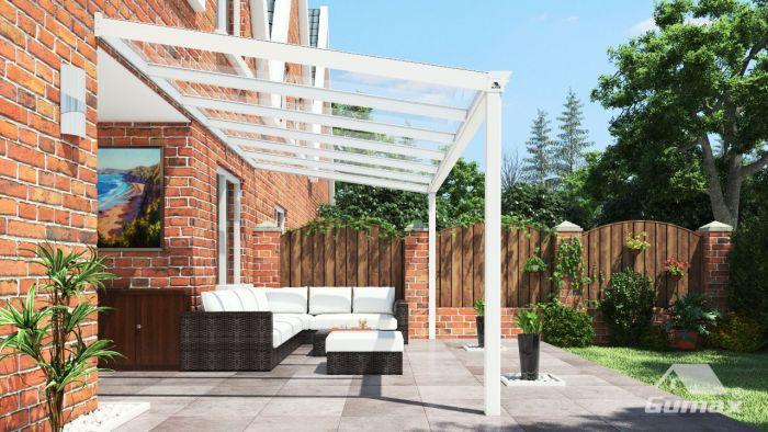 Klassische terrassenüberdachung in matt creme 6 06 x 2 5 meter mit