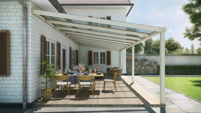 Moderne terrassenüberdachung in matt creme meter mit