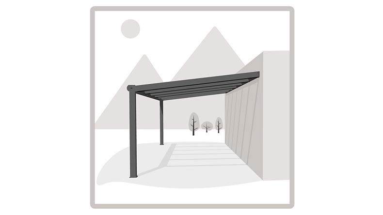 Moderne Terrassenüberdachung in matt creme, 4,06 x 3,5 Meter mit IQ ...