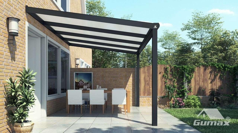 Moderne Terrassenüberdachung in matt anthrazit, 4,06 x 2,5 Meter mit ...