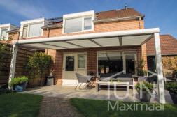Moderner Gumax® Überdachung in weiß von 5,06 x 3 Metern mit Glasdachplatten inklusive Gumax® automatischer Sonnenschutz