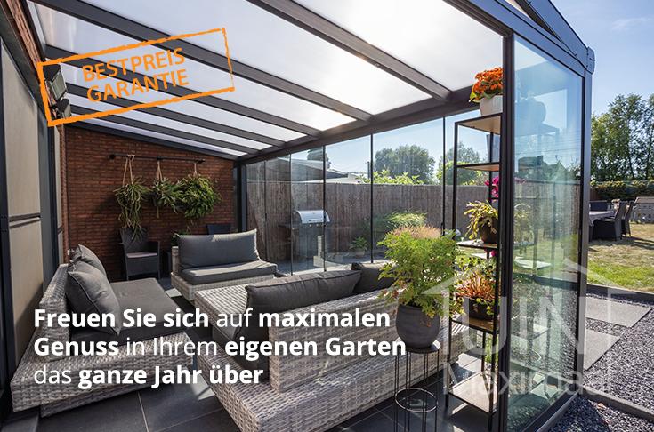 modernen terrassenuberdachung in matt anthrazit mit polycarbonat dach